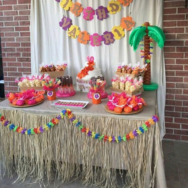 luau 9 39 x 29 raffia grass table skirt trim tropical party decoration decor hula aloha in party. Black Bedroom Furniture Sets. Home Design Ideas