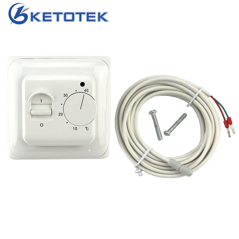 New Universal Mechanical Floor Heating Thermostat AC 230V Electronic Dual Room Warm Temperature Controller Retardant PC