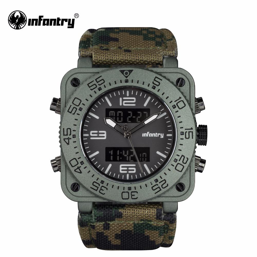 Prix pour INFANTRY Mens Quartz-montres Militaire Armée Numérique Sport Montres Camouflage En Cuir Carré Montres Dual Core Relogios Masculinos