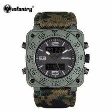 INFANTERÍA Hombres de Cuarzo relojes Ejército Militar Relojes Deportivos Digitales Camuflaje de Cuero Cuadrados Relojes Relogios masculinos de Doble Núcleo