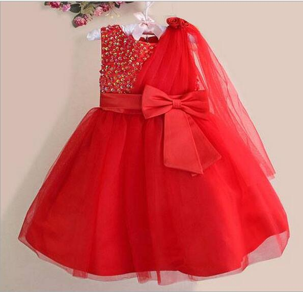 free shipping 2016  girl Dress Flower Princess Party Dresses Lace multi-inlaid pearl with shawl dress  9 colors