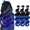 Predazzle Ombre 8A Brazilian Virgin Hair Weave 3 or 4 Bundles Body Wave Dark Roots Human Hair Extension Tissage Magic Ombre Blue