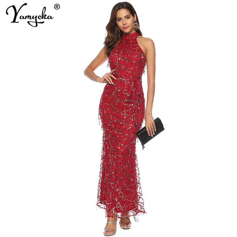 Sexy Red Off Shoulder Sequins dress women long bodycon summer dress maxi elegant vintage Night club Party Dreses vestidos robe in Dresses from Women 39 s Clothing