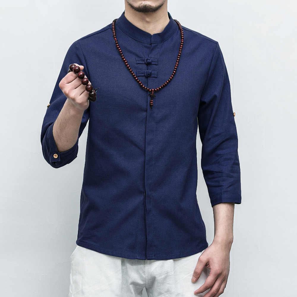 Tradictional 中国服綿リネンシャツ中国風のカンフー太極拳スーツ中国 CN-030 トップス