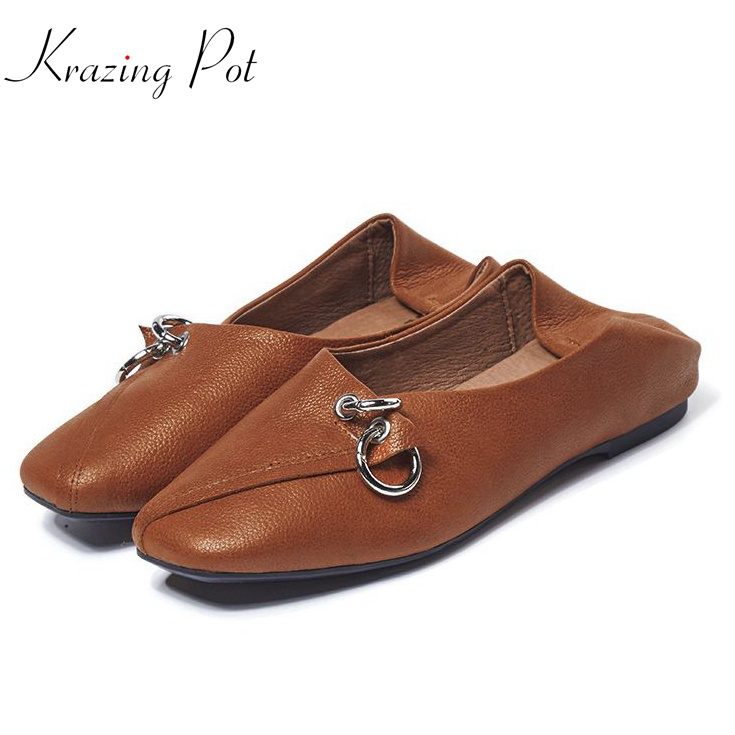 Krazing pot fashion pregnant square toe metal buckle shallow genuine leather slip on flats cozy summer comfortable shoes L7f1 new fashion luxury women flats buckle shallow slip on soft cow genuine leather comfortable ladies brand casual shoes size 35 41