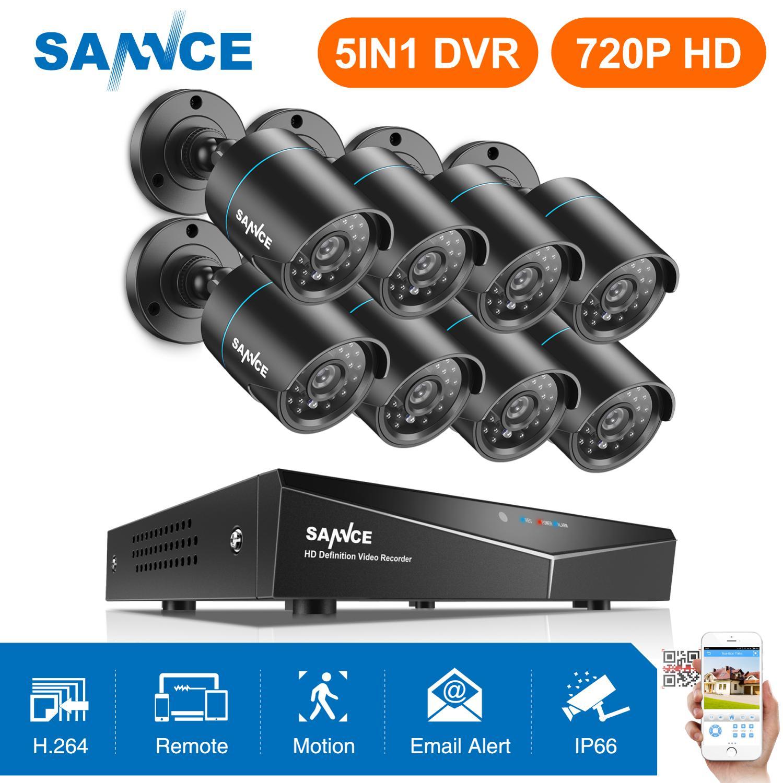 SANNCE 8CH 1080N 720P HD CCTV System Video Recorder 8PCS 720P CCTV Security font b Camera
