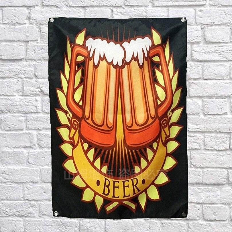 Bier Poster Scrolls Bar Wijnmakerij Cafes Wijnkelder Indoor Woondecoratie Banners Opknoping Art Waterdicht Doek Muurschildering Kan Herhaaldelijk Worden Omgedraaid.