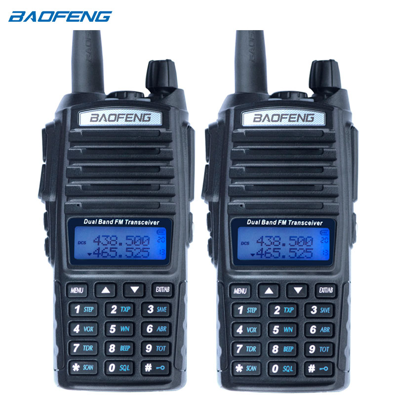 2 pcs Baofeng UV-82 Talkie Walkie CB Radio UV 82 Portable Two Way Radio FM VOX Émetteur-Récepteur Double Bande Longue gamme UV82 Jambon Radios
