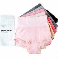 MUNAFIE 5-pack Womens Shapewear Inconsútil de la Alta cintura Breve Panty Control Firme Tummy Adelgaza bragas de encaje US4-7