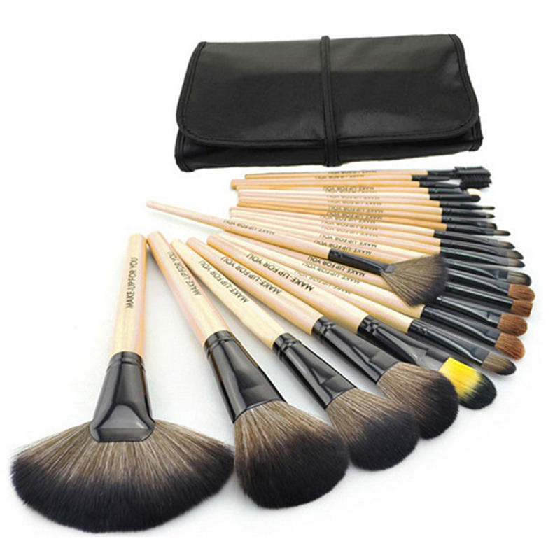 Big discount 24 pcs Professional Makeup Brushes Set tools Make-up Toiletry Kit Natural wood Make Up Brush Set with leather Bag
