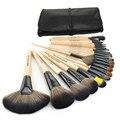 Descuento grande 24 unids profesional pinceles de maquillaje Set herramientas Kit del artículo de tocador de madera Natural de maquillaje cepillo conjunto con la caja de cuero