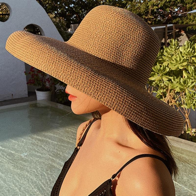 Hat Sun-Hats Straw Beach-Hat Top-Panama Floppy Round Wide-Brim Female Elegant Summer