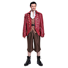 Movie Beauty and The Beast Handsome Gaston Costume Men Cosplay Leather Suit Luke Evans outfits Custom-Made Any size No shoes