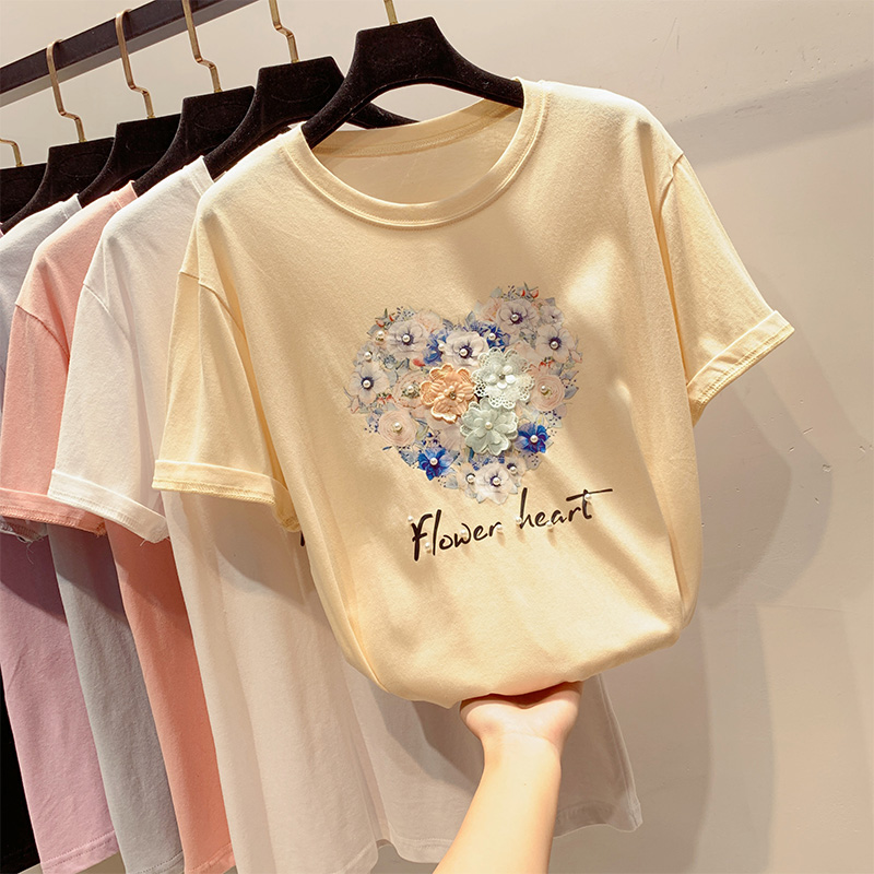 Women Tshirt Cotton Casual Knitted Short Sleeve Appliques Letter Printed O-neck Loose New Style