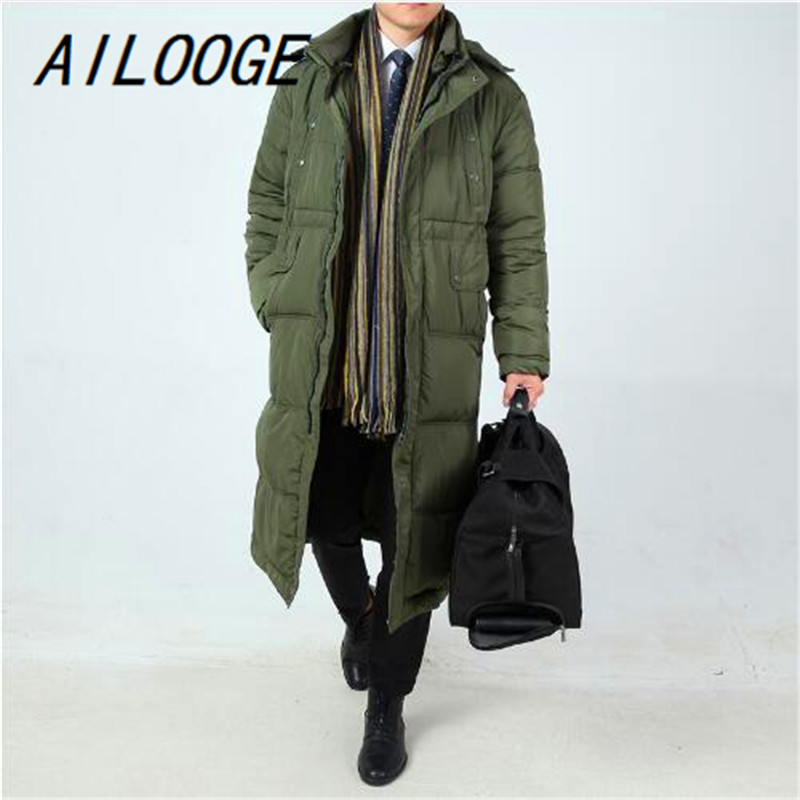 AILOOGE New Arrival Winter Thickening Medium-long Male Long Outerwear Big Thermal Cotton-padded Jacket Plus Size 3XL 4XL 5XL 6XL