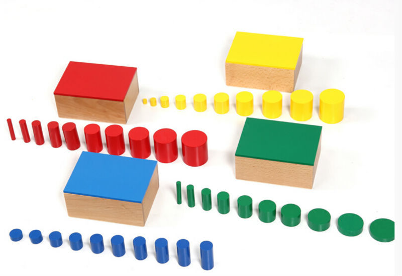 Color Cylinder Blocks Montessori Materials Educational Geometry Wooden Block Kid Children Boy Girl Toy montessori materials colorful locks box toys for kid children preschool educational toy memory game wooden montessori lock tool