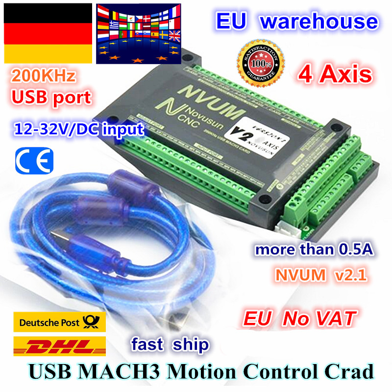 EU 4 Axis NVUM CNC Controller 200KHZ MACH3 USB Motion Control Card for CNC Engraving Stepper