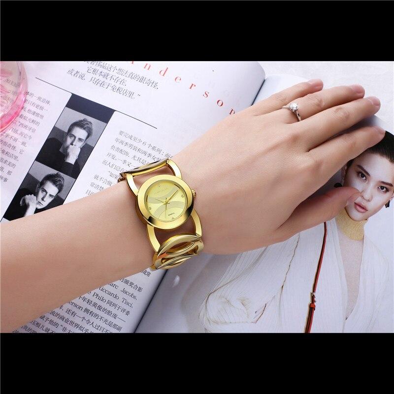 Prix pour 2017 Montre En Or Femmes Marque De Luxe Bracelet Dames Montre De Mode Complet En Acier Inoxydable Montre-Bracelet Femme Montre-Bracelet