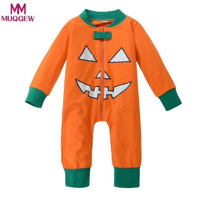 c45a10724a40 Newborn Baby Girl boys Romper pumpkin print Play suit Pants Outfit ...