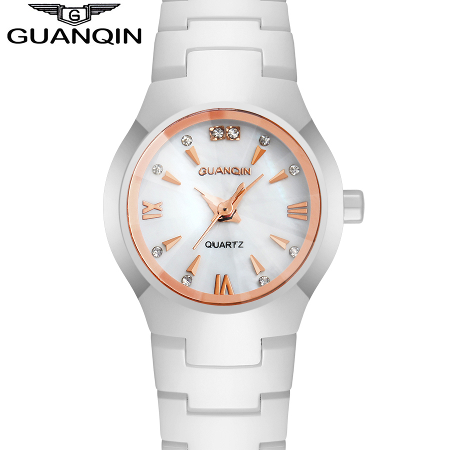 ФОТО 2015 Fashion Ceramic Women's Watches Women Luxury Brand White Rose Gold Ladies Dress Quartz Watch relogio feminino