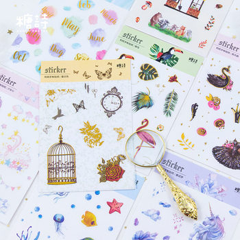 8PCS/LOT fresh series DIY sticky washi decoration stickers фото