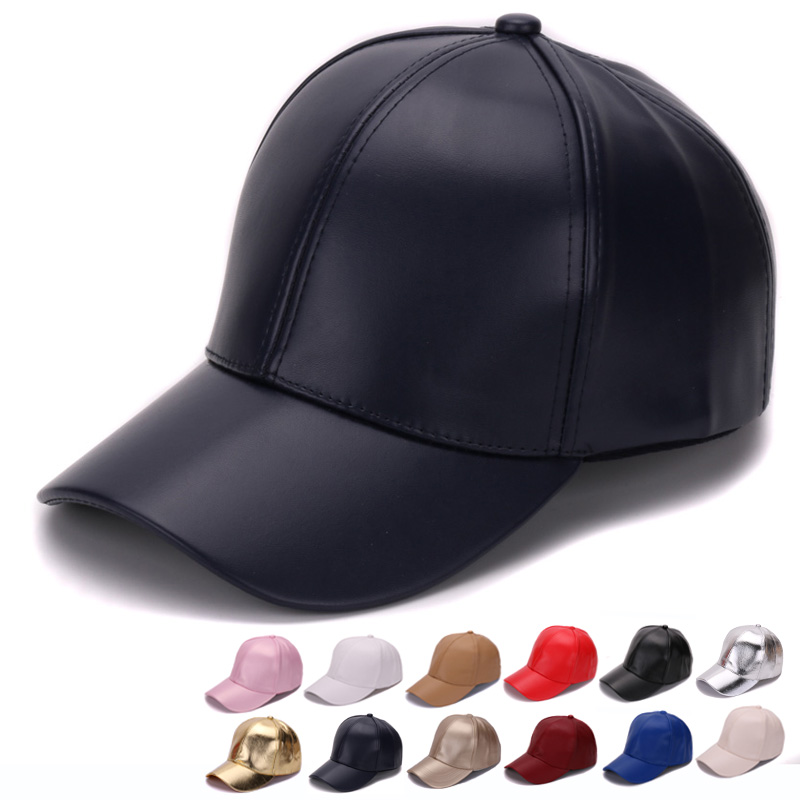 HATLANDER Classic Plain PU   baseball     cap   fashion blank no logo leather   cap   and hat for men and women