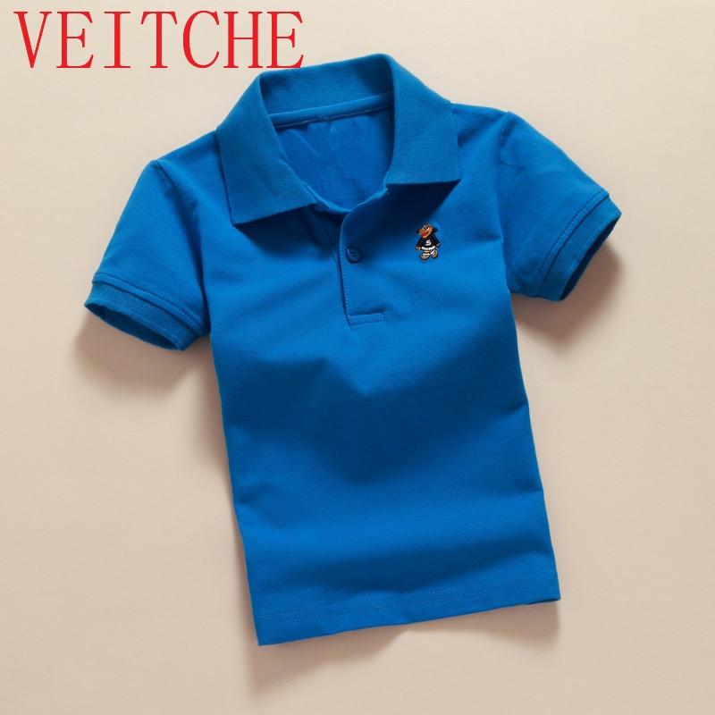 VEITCHE 2017 estate marca bambini camicie manica corta turn down collare 100% cotone unisex vestiti casual moda bambini top usura