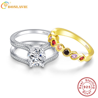 JQUEEN 2 6 Ct Infinity Amethyst Citrine 18K Gold Plated 925 Sterling Silver Wedding Band Engagement
