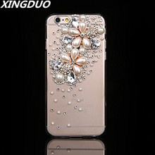 XINGDUO Bling Rhinestone Crystal Diamond and Soft Back Phone Case Cover For iphone X XS XR MAX 5 5S 6 6S 7 8 Plus girl shell