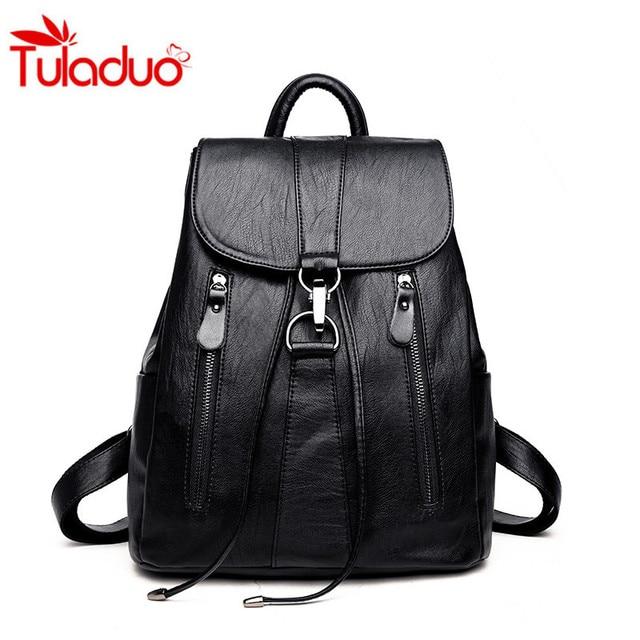 2018 Women Backpack Chain Design Soft Leather Ladies Shoulder Bags Women s  Backpack For Girls Rucksack Female Mochila Travel Bag 4b5d2e27f3968