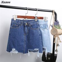 Summer Fashion Women Denim Skirt 2018 Hole Pencil Skirt Blue Denim Women Sexy Casual Mini Skirt New Ripped Pockets Bodycon Skirt destroyed fishnet insert fray trim denim skirt