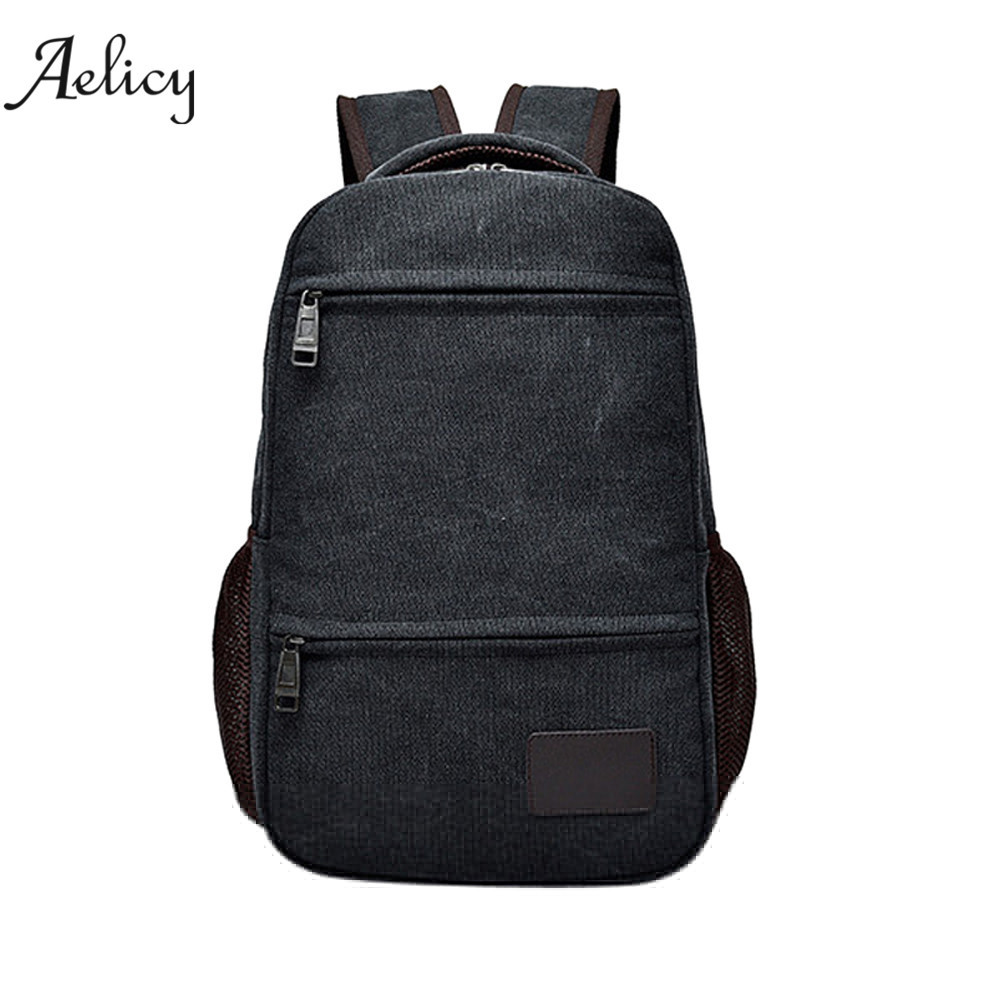 Casual Neutral Canvas Backpack School Travel Student School Laptop Bag Satchel Solid Backpack Dedsign