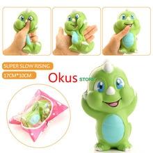 Newest 15CM Jumbo Original Green Dinosaur Baby Squishy Slow Rising Kawaii Cute Cartoon Phone Strap Squeeze Bread Cake Kid Toys