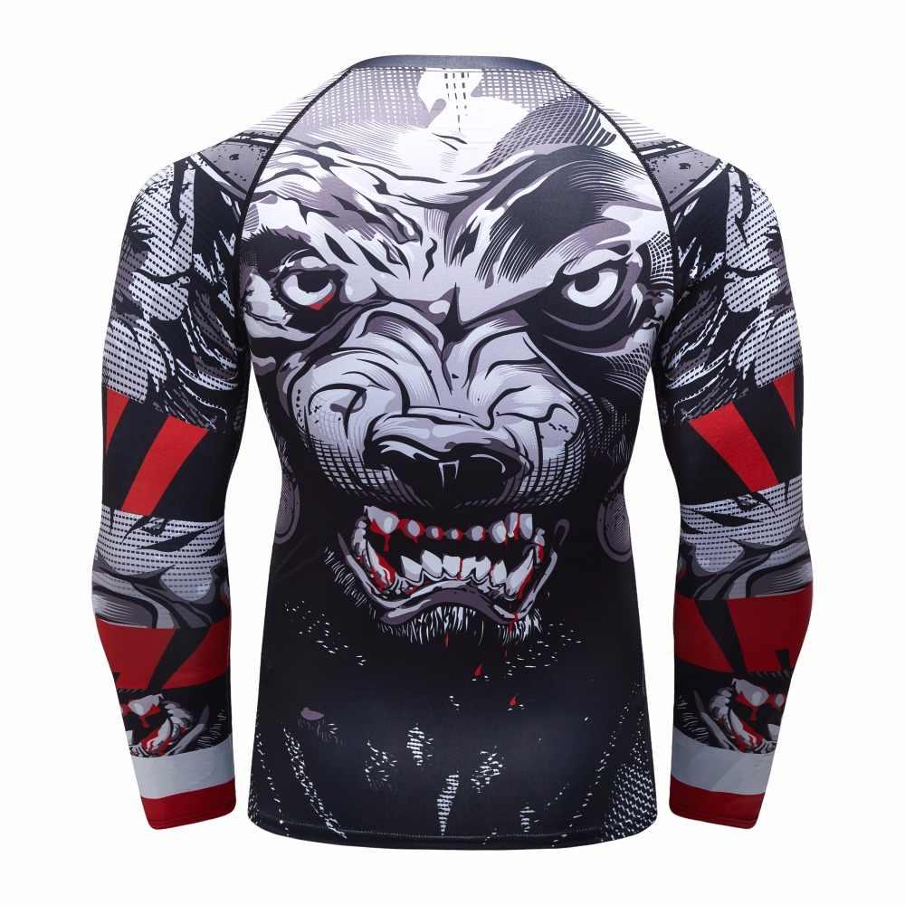 Nova Compressão Rashguard Manga Longa T shirt Homens 3D BJJ MMA UFC Collants Bodybuild Aptidão Muscular Cruz fit Quick Dry rash guard