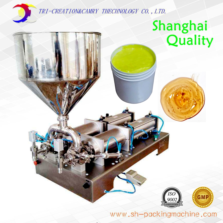 pneumatic horizontal paste filling machine,1L 2 nozzle sauce soap jam piston filling machine_shanghai factory