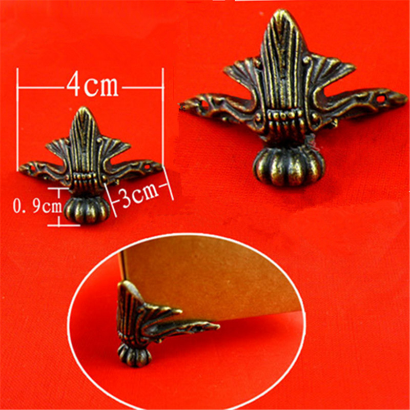 New 4X Antique Brass Jewelry Gift Box Wood Case Decorative Feet Leg Corner Protector Free Shipping