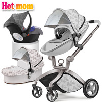 Hot Mom stroller stroller 3in1 high landscape can sit or lie pneumatic wheels portable baby stroller trolley free delivery