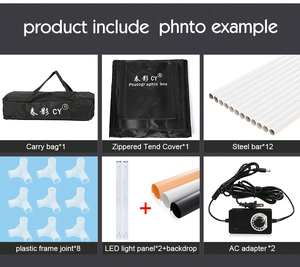 Image 5 - CY 80*80 Fotostudio LED soft box Schieten photo light tent set + 3 Achtergronden + dimmer kinderkleding shoting tent kits