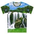 2016 del verano nuevas Harajuku t shirt 3D torre Eiffel ciudad sandía agujero negro Dazzle Colour impresión de la camiseta hombres / camisetas mujer camiseta