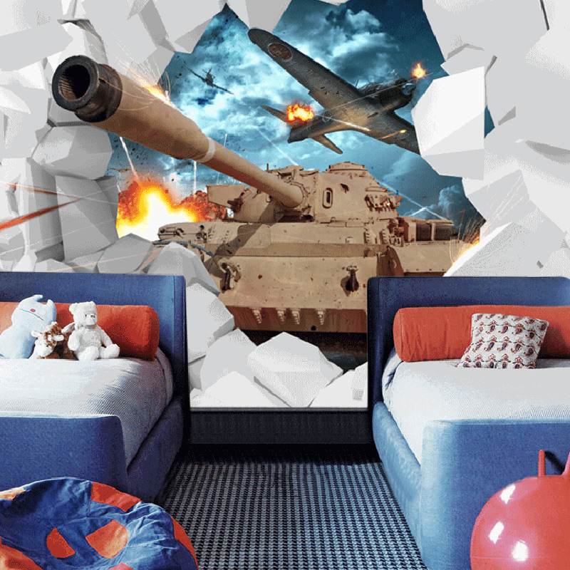 Custom photo wall paper 3d tanks aircraft military themed for Airplane cockpit wall mural