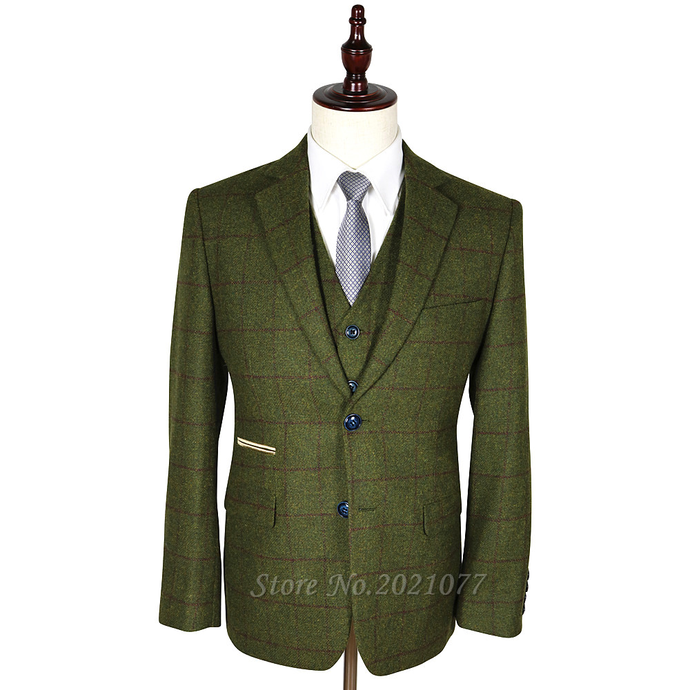 Tailored 3 Piece Suits 2017 Designer Mens Wool Tweed Olive Green Wine Check Men Suit Blazers Retro Slim Fit Wedding Suit For Men