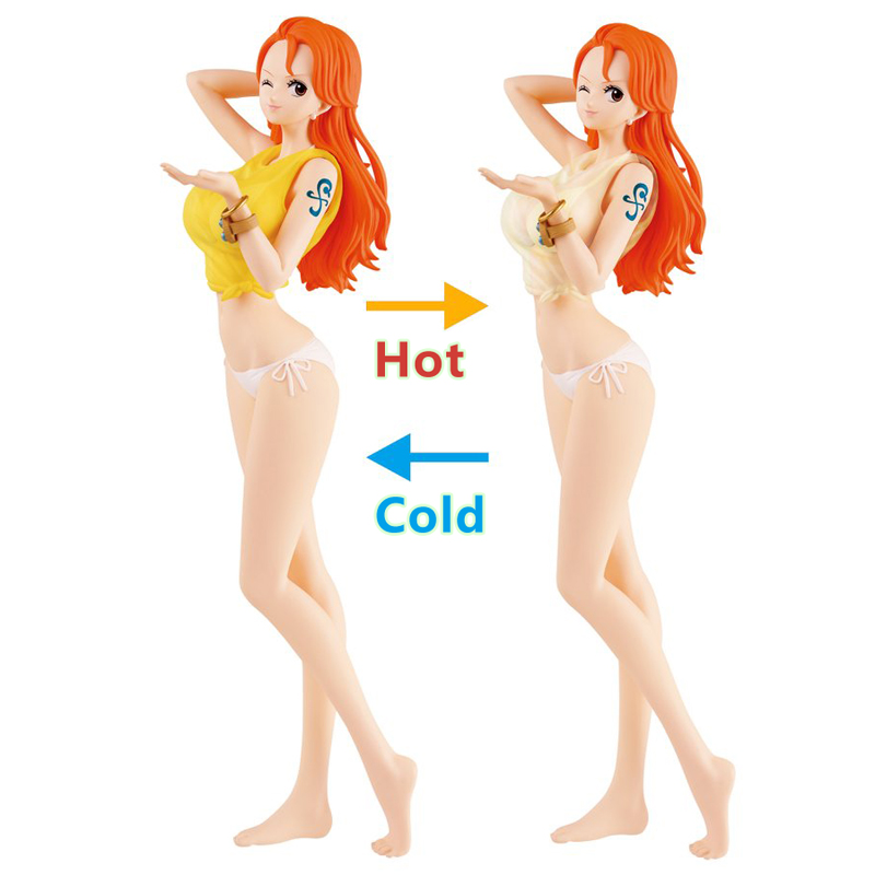 Anime ONE PIECE Sexy Nami Thermochromic Swimming Suit 27cm PVC Action Figure Model Doll Toys Collectible цена