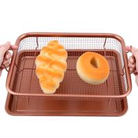 13inch Copper Crisper Tray Air Fryer With Non Stick Mesh Oil Filter Grill Crisper Baking Sheet