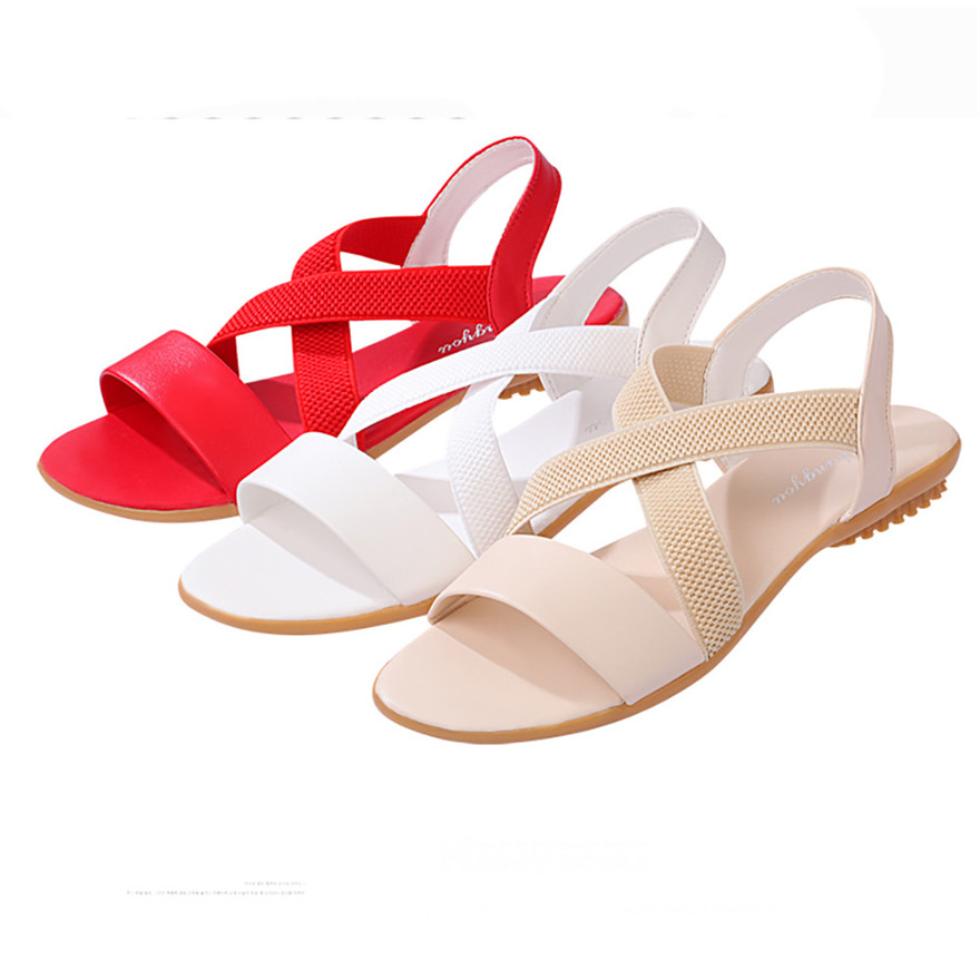 все цены на Women Low Heel Anti Skidding Beach Femme Cross Strap Shoes Sandals Peep-toe Sandals Zapatos Mujer 2018 nouveau chaussures femme