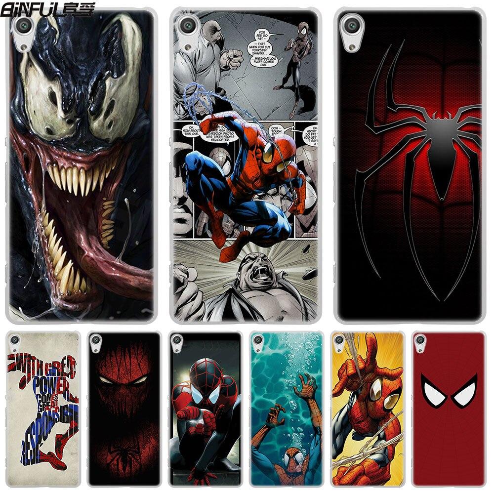 Binful Amzaing Spiderman Мстители кожи жесткий белый чехол для телефона Sony Xperia Z1 Z2 Z3 Z4 Z5 M5 M4 aqua XA 1 E4 E5 C4 C5