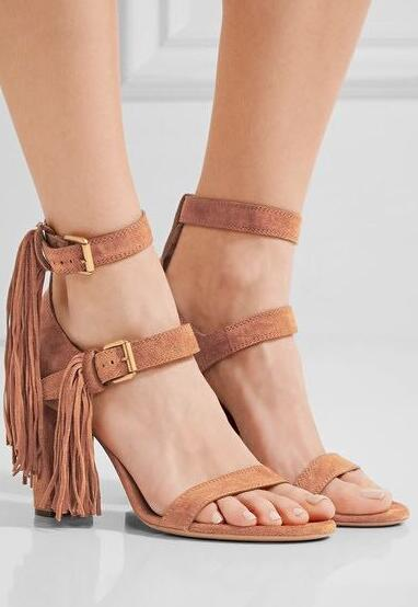 Summer Fashion Khaki Suede Leather Women Open Toe Sandals Concise Style Ladies Chunky Heel Sandals Ankle Buckle Fringe Shoes 5 11
