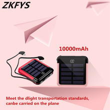 Portable Solar Power Bank 10000mAh Mini USB Type-C Phone Cable Digital Display Battery Charging Pack