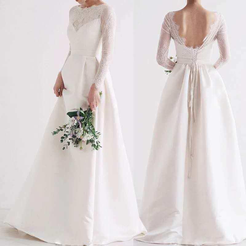 Vintage Wedding Dress 2019 Lace Bridal Gown Elegent Formal Dress Backless Bridal Dress Vestido De Noiva