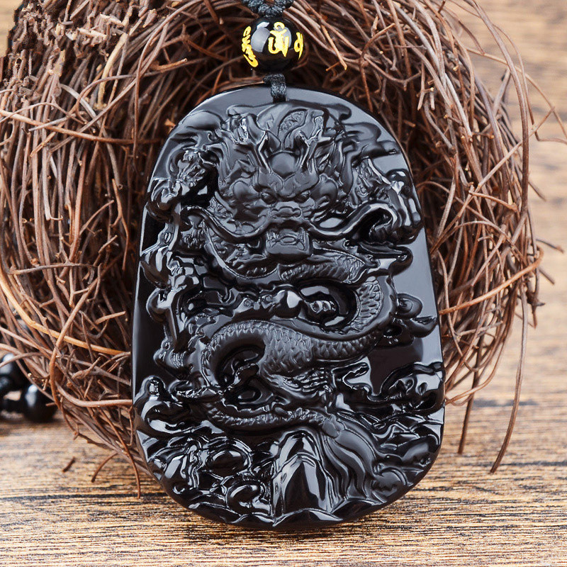 Natural Energy Obsidian Stone Dragon Necklace 1