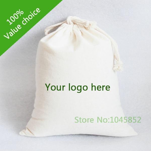 1000 Pcs Lot W15 H18cm Custom Made Cotton Drawstring Gift Bags Small Dust Bag